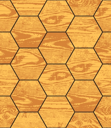 Grunge wood parquet hexagon texture, seamless background Vector