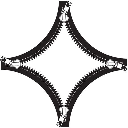 unzipped: Border frame stylized as zipper. Illustration