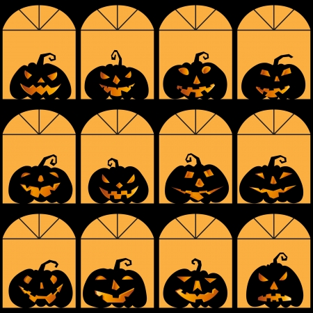 Halloween house with pumpkin silhouette, seamless background Stock Vector - 23262754