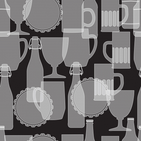 White silhouette of beer bottle and glass on black background, seamless pattern. Vector