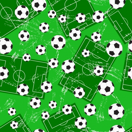Grunge seamless background with football gate and soccer ball. Vector