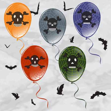 Colorful halloween balloon with web, skull and bat. Vector