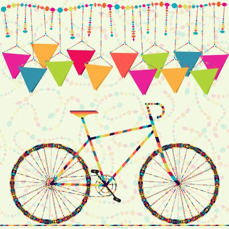 Happy birthday card, invitation, postcard with carnival bike, serpentine, flag Vector