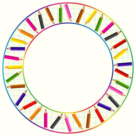 encircle: Round frame made from color pencils