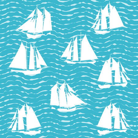 Ship and sea wave. Vector seamless background. Vector