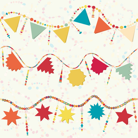 Retro carnival serpentine, Happy Birthday garland, party decoration, seamless background Vector
