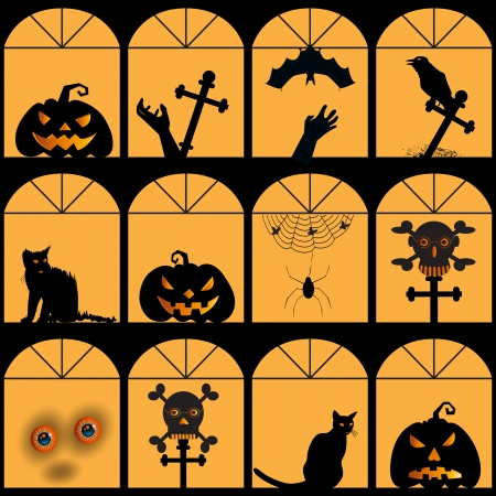 Halloween house with pumpkin, skull, cat, spider, web, ghost silhouette, seamless background Vector