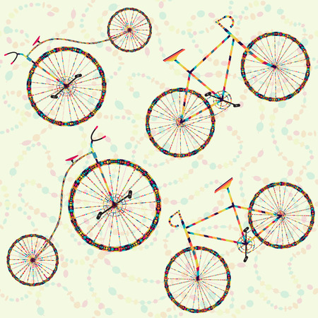 Seamless background with carnival bike, serpentine Vector