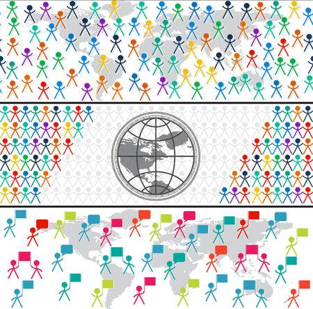 gender identity: Set of horizontal seamless banner with man, people, crowd, globe symbol
