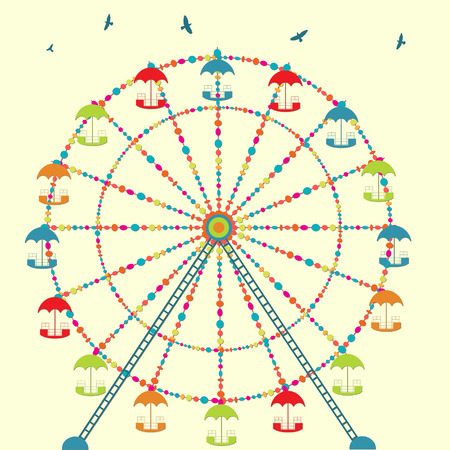 Background with carnival ferris wheel, carousel in amusement park Vector
