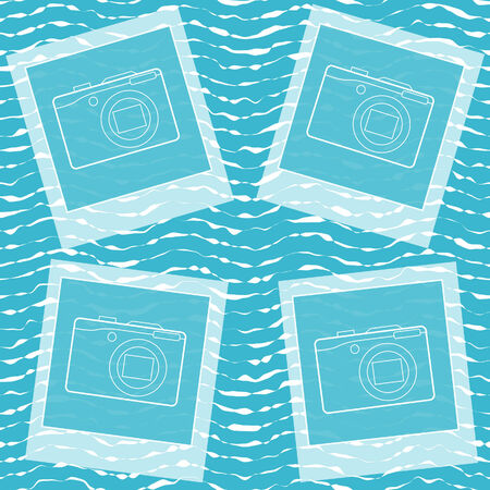 Seamless background with sea wave and photo frame. Illustration