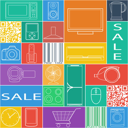 Seamless pattern with goods icons, sale label.