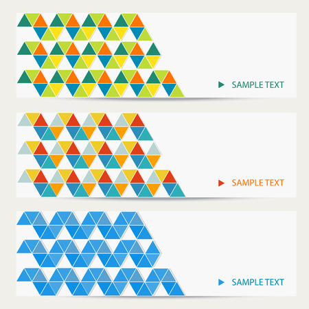Set of horizontal banner in modern origami style with triangle pattern background for web, presentation, business card. Illustration