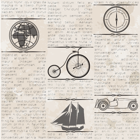 Abstract old grunge vintage newspaper with old car, globe, compass, ship, bike, seamless vintage background. Illustration