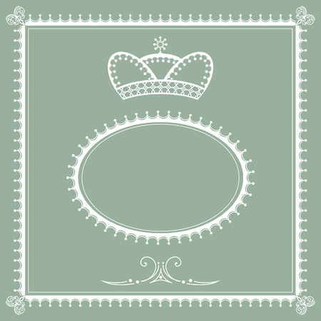 Decorative royal frame design with victorian calligraphic elements for card, invitation, emblem, label.