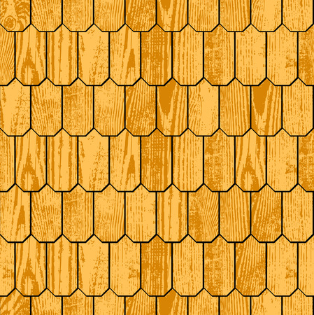 slate roof: Wooden shingle grunge roof, seamless background Illustration