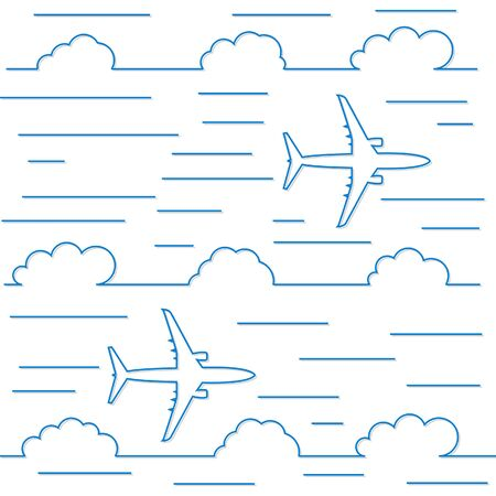 Sky and airplane, background in line style.