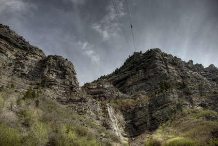 mapped: HDR Tone Mapped Image of Bridalveil Falls, Provo Canyon, Utah. Stock Photo