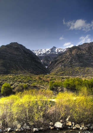 mapped: Tone mapped shot of the Backside of Mount Timpanogas from Provo Canyon, Utah. Stock Photo