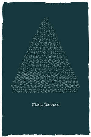 Christmas tree made from curly pattern Vector