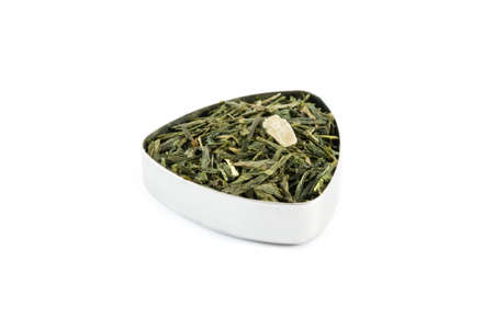 sencha: Chinese Sencha green tea mixed with pineapple and ginger, in a metal container