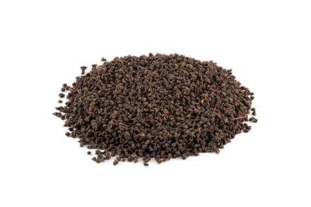 assam tea: Black tea from Assam region of India isolated on white