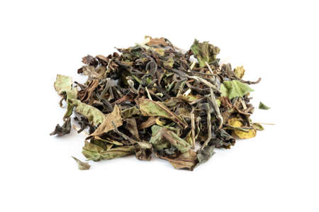 dried herb: Indian white tea with vanilla, myrtle and lemongrass, isolated on white Stock Photo