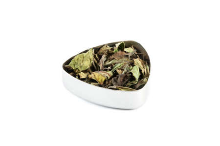 lemongrass tea: Indian white tea with vanilla, myrtle and lemongrass, in a metal container Stock Photo