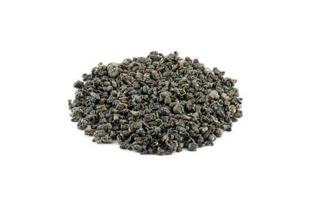 gunpowder tea: Famous (Gunpowder - Temple of Heaven) chinese green tea isolated on white