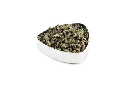 gunpowder tea: Famous Gunpowder chinese green tea in a metal container