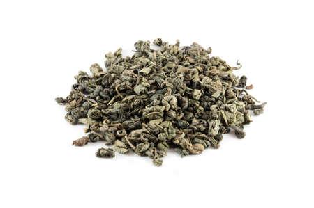 gunpowder tea: Famous Gunpowder chinese green tea isolated on white