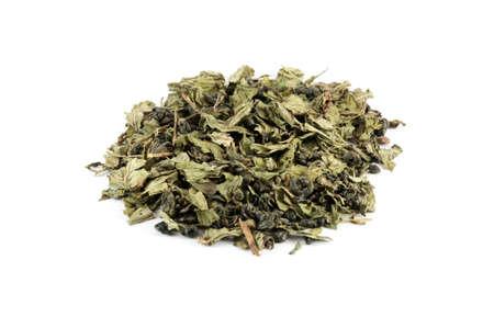 gunpowder tea: Mix of green tea Gunpowder and mint from Morocco isolated on white
