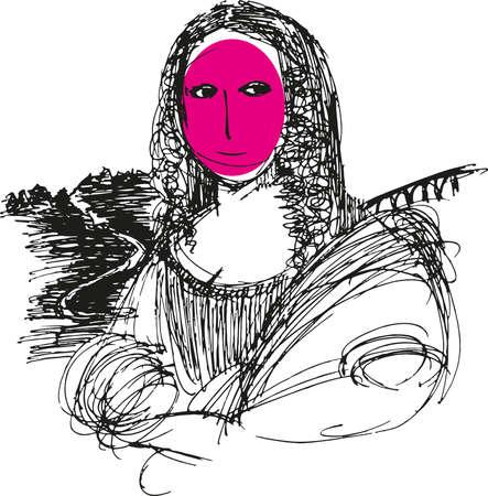 A drawing of Gioconda Mona Lisa of Leonardo da Vinci. Vector illustration in graphic style.
