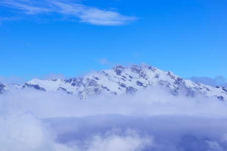 Impressive winter landscape with a mountain peak on a sunny day in La Tzoumaz, Riddes, Switzerland