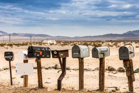 Old US Mailboxes along Route 66 - Picture made during a motorcycle road trip