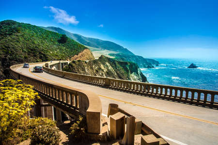 bixby: Bixby Creek Bridge on Highway  1 at the US West Coast traveling south to Los Angeles, Big Sur Area - Picture made during a motorcycle road trip Stock Photo