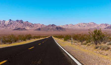 western usa: US Highway to death valley national park, California - Picture made on a motorcycle road trip through western USA Stock Photo