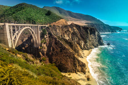bixby: Bixby Creek Bridge on Pacific Coast Highway #1 at the US West Coast traveling south to Los Angeles, Big Sur Area, California