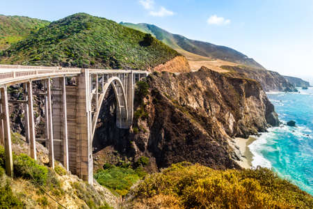 Bixby Creek Bridge on Highway #1 at the US West Coast traveling south to Los Angeles, Big Sur Area, California Фото со стока