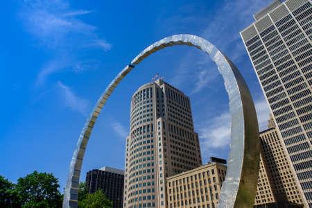 Transcending monument at Hart Plaza surrounding 150 West Jefferson skyskraper in Detroit, Michigan, USA Editorial