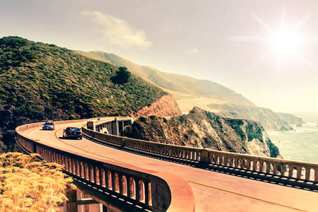 Bixby Creek Bridge on Highway #1 at the US West Coast traveling south to Los Angeles, Big Sur Area Stock Photo