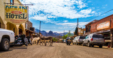 western usa: Panoramic view of Oatman - a historic ghost town in Arizona, USA. Picture made during a motorcycle road trip through the western us states.