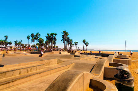 Venice Beach, Los Angeles, CA - September 25, 2015: Skatepark at world famous Venice Beach. The Skate Board Park is very famous and popular in California.