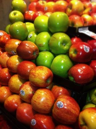 stocked: Produce display fresh stocked apples.