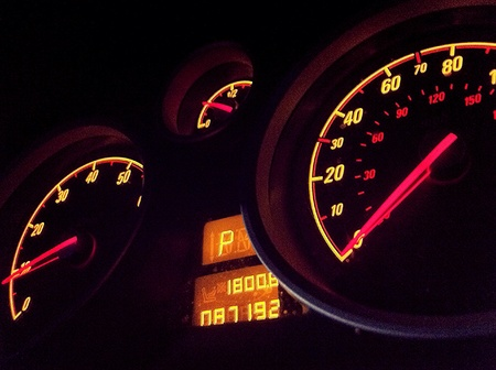 Car dashboard glow.