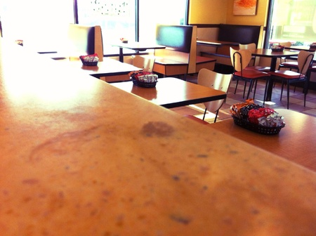 Vacant fast food dining room.