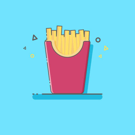 French Fries In FLat Style Stock fotó - 148759775