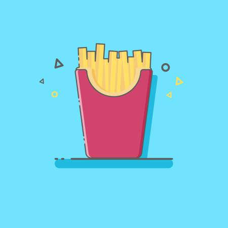 French Fries In FLat Style Ilustração
