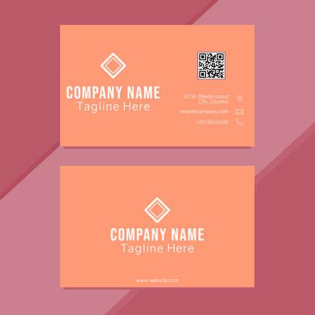 carte de visite minimaliste orange propre