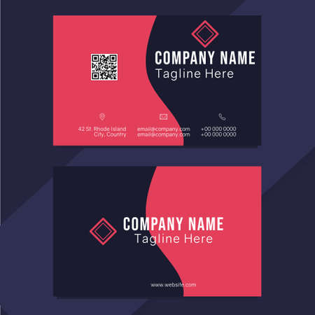 Red and dark shape minimal professional business card